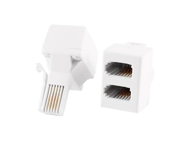 2 Pcs BT UK Type 6P4C Male Plug to Dual Female Jack Telephone Splitter Connector