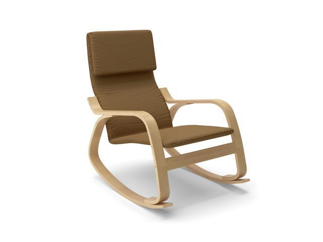 CorLiving LAQ-625-C Aquios Bentwood Contemporary Rocking Chair in Warm Brown