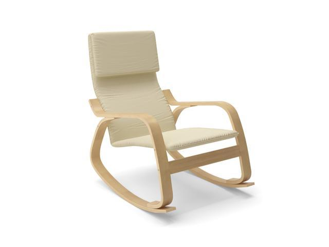 CorLiving LAQ-665-C Aquios Bentwood Contemporary Rocking Chair in Warm White