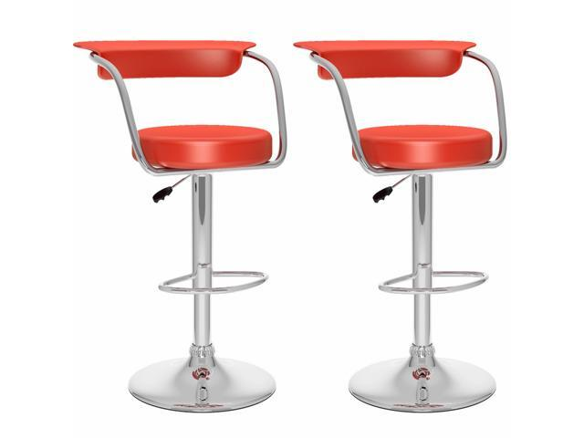 CorLiving B-157-UPD Open Back Adjustable Bar Stool in Red Leatherette, set of 2