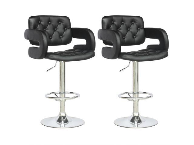 CorLiving DAB-909-B Tufted Adjustable Bar Stool with Armrests in Black Leatherette, set of 2