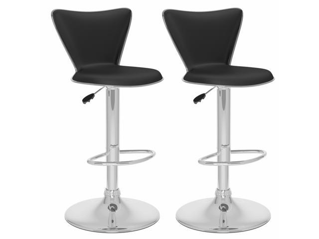 CorLiving B-207-UPD Tall Curved Back Adjustable Bar Stool in Black Leatherette, set of 2