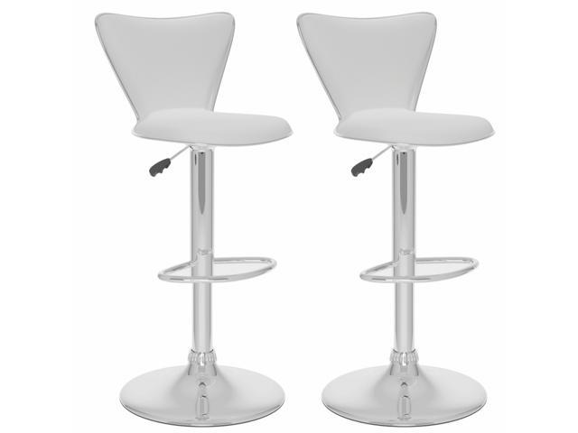 CorLiving B-217-UPD Tall Curved Back Adjustable Bar Stool in White Leatherette, set of 2