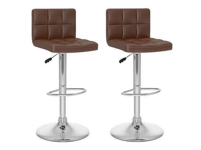 CorLiving B-437-UPD High Back Adjustable Bar Stool in Brown Leatherette, set of 2
