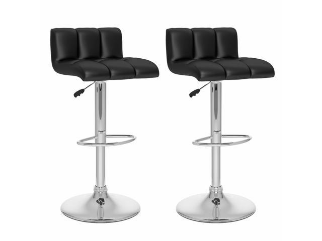 CorLiving B-607-UPD Low Back Adjustable Bar Stool in Black Leatherette, set of 2