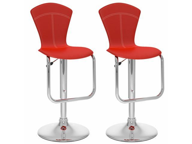 CorLiving B-252-VPD Tapered full Back Adjustable Bar Stool in Red Leatherette, set of 2