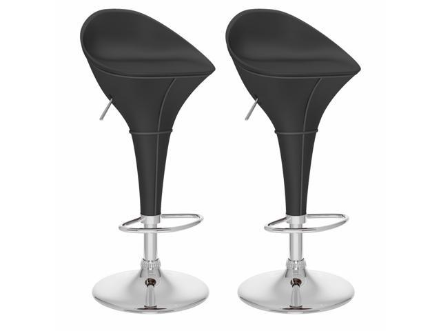 CorLiving B-302-VPD Round Styled Adjustable Bar Stool in Black Leatherette, set of 2