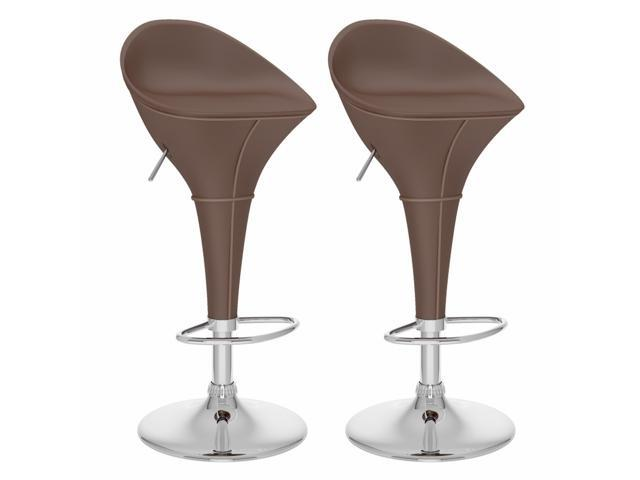 CorLiving B-332-VPD Round Styled Adjustable Bar Stool in Brown Leatherette, set of 2