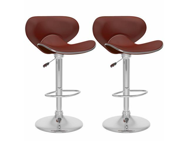 CorLiving B-532-VPD Curved Form Fitting Adjustable Bar Stool in Brown Leatherette, set of 2