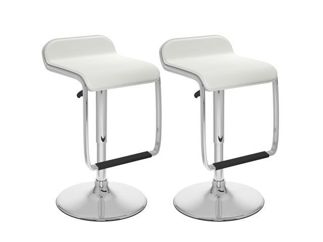 CorLiving B-612-VPD Adjustable Bar Stool with Footrest in White Leatherette, set of 2