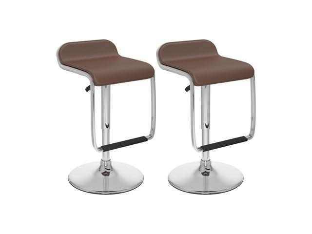 CorLiving B-632-VPD Adjustable Bar Stool with Footrest in Brown Leatherette, set of 2