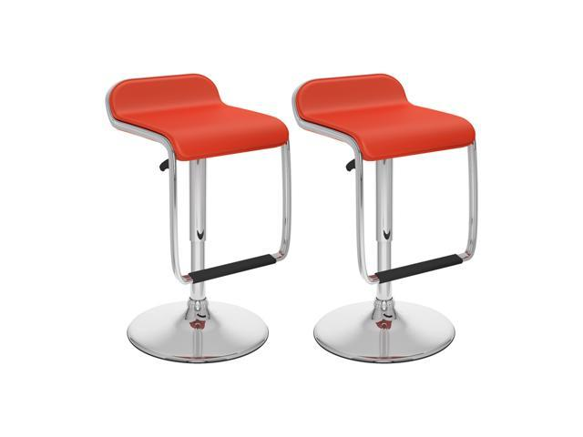 CorLiving B-652-VPD Adjustable Bar Stool with Footrest in Red Leatherette, set of 2