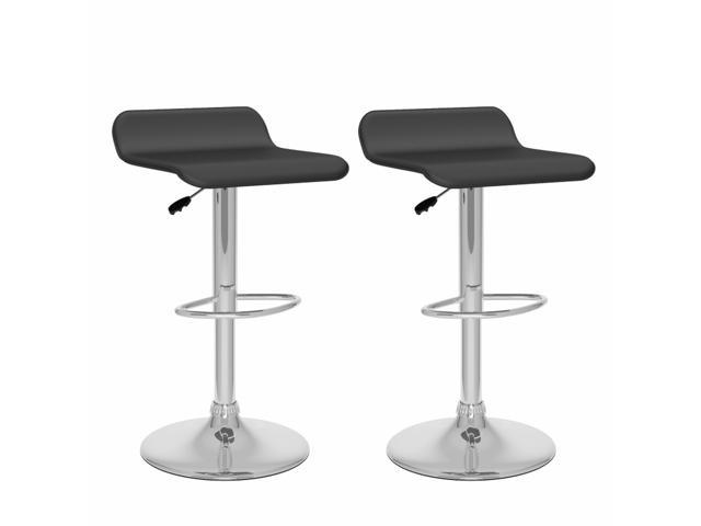 CorLiving B-802-VPD Curved Adjustable Bar Stool in Black Leatherette, set of 2
