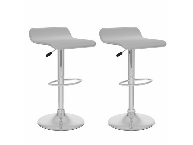 CorLiving B-812-VPD Curved Adjustable Bar Stool in White Leatherette, set of 2