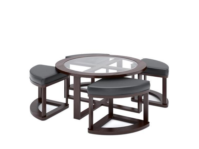CorLiving LBG-599-K Belgrove Dark Espresso Stained Coffee Table with 4 Stools