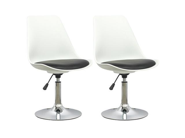 CorLiving DAB-200-C Adjustable Chair in White with Black Leatherette Seat, set of 2