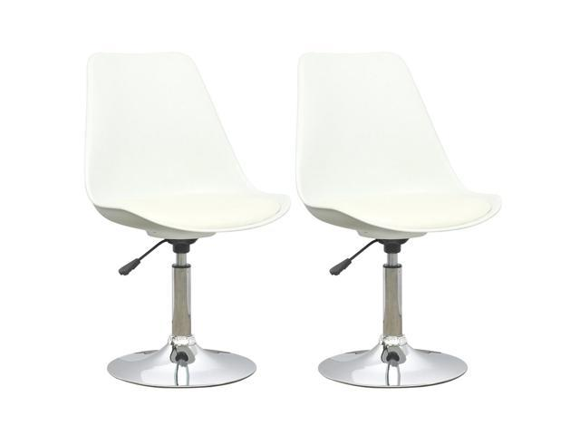 CorLiving DAB-210-C Adjustable Chair in White with White Leatherette Seat, set of 2