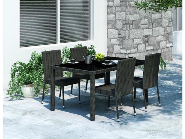 Sonax Z-206-TPP Park Terrace 5pc Patio Dining Set in Charcoal Black Rope Weave