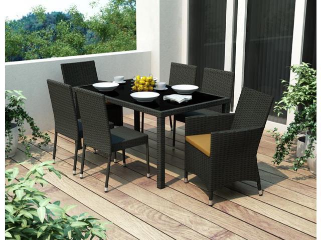 Sonax Z-406-TPP Park Terrace Charcoal Black Weave 7pc Patio Dining Set
