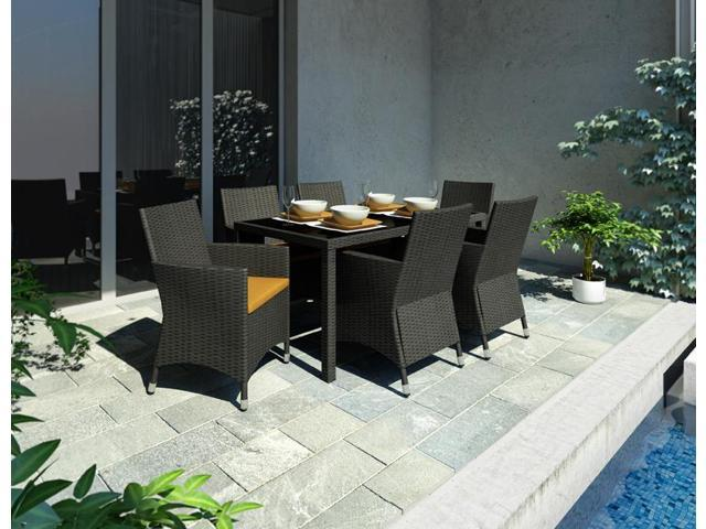 Sonax Z-506-TPP Park Terrace Charcoal Black Weave 7pc Patio Dining Set