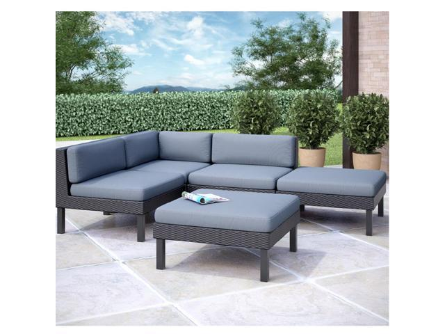 CorLiving PPO-801-Z Oakland 5 pc Sectional with Chaise Lounge Patio Set