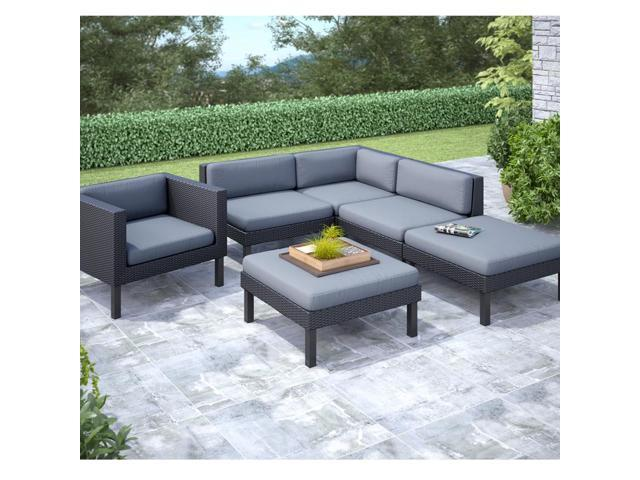 CorLiving PPO-803-Z Oakland 6 pc Sectional with Chaise Lounge and Chair Patio Set