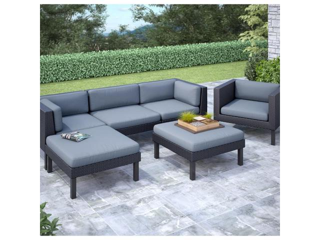 CorLiving PPO-805-Z Oakland 6 pc Sofa with Chaise Lounge and Chair Patio Set