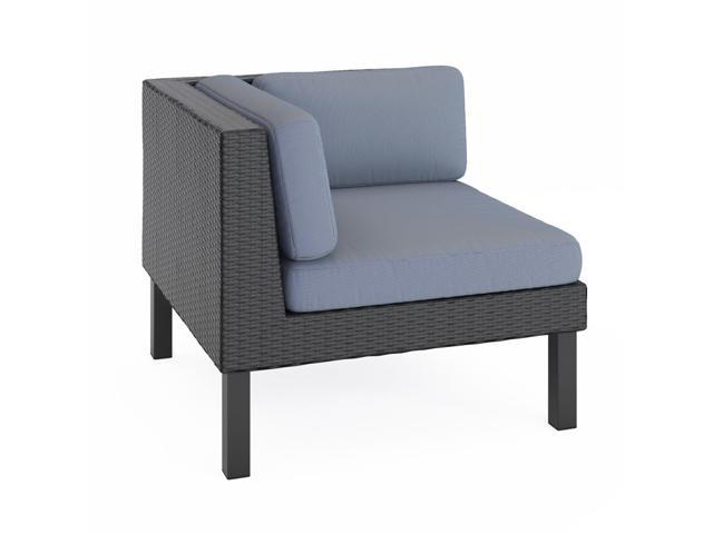 CorLiving PPO-801-L Oakland Patio Corner Seat in Textured Black Weave