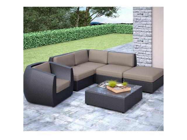 CorLiving PPS-603-Z Seattle Curved 6 pc Sectional with Chaise Lounge and Chair Patio Set
