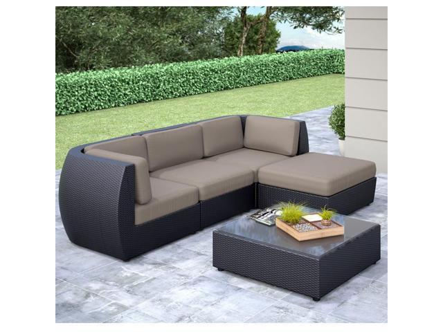 CorLiving PPS-604-Z Seattle Curved 5 pc Sofa with Chaise Lounge Patio Set