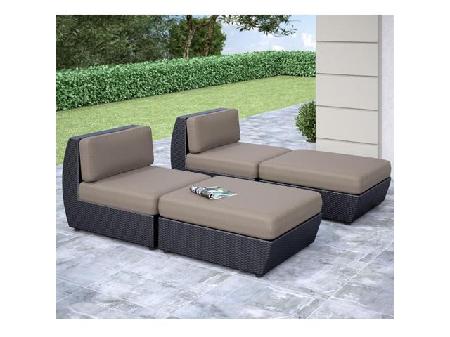 CorLiving PPS-606-Z Seattle Curved 4 pc Lounger Patio Set