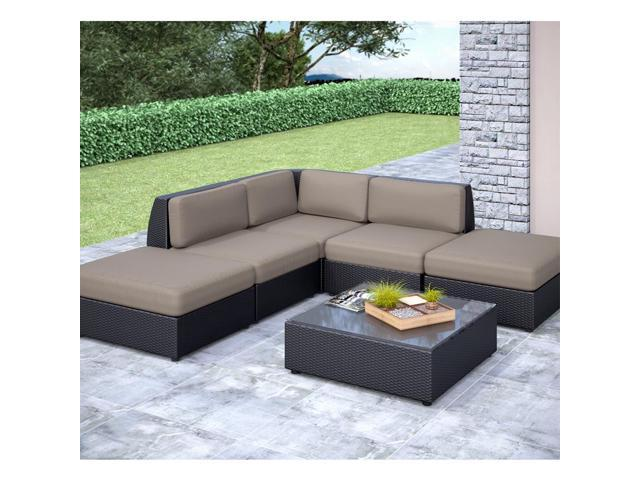 CorLiving PPS-607-Z Seattle Curved 6 pc Chaise Lounge Sectional Patio Set