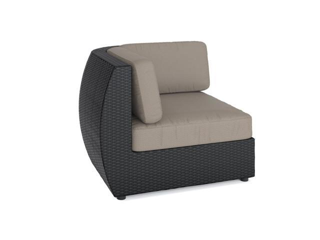 CorLiving PPS-601-L Seattle Patio Corner Seat in Textured Black Weave