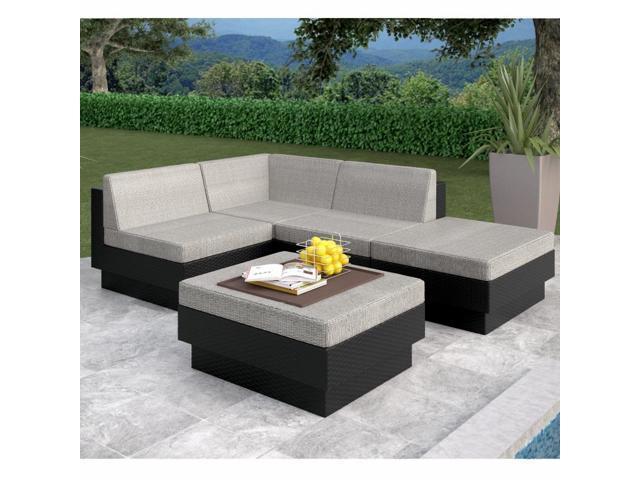 Sonax Z-103-TPP Park Terrace Textured Black 5 Piece Sectional Patio Set