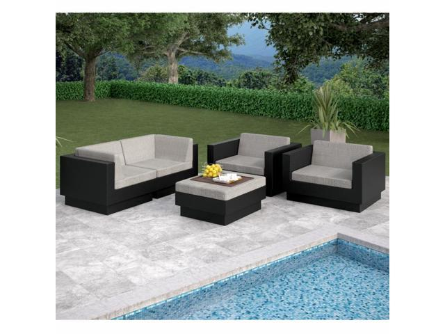 Sonax Z-203-TPP Park Terrace Textured Black 5 Piece Sofa Patio Set