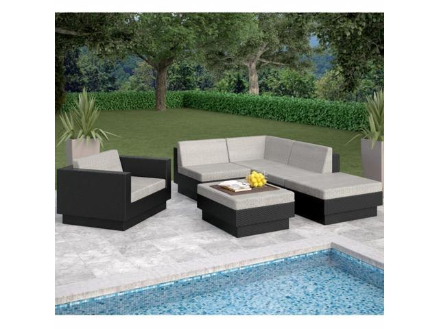 Sonax Z-303-TPP Park Terrace Textured Black 6 Piece Sectional Patio Set