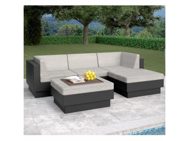 Sonax PPT-304-Z Park Terrace Textured Black 5 Piece Double Armrest Sectional Patio Set