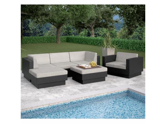 Sonax PPT-305-Z Park Terrace Textured Black 6 Piece Double Armrest Sectional Patio Set