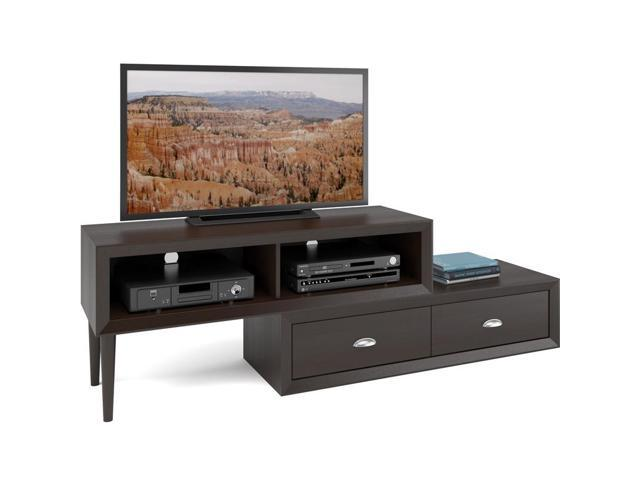 CorLiving TLK-883-B Lakewood Two-Tiered Adjustable TV Bench in Espresso Finish