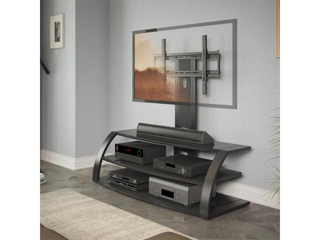CorLiving TML-506-T Malibu TV Stand with Mount and Black Metal Uprights