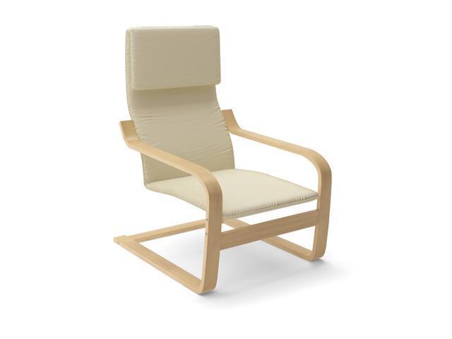 CorLiving LBQ-786-C Aquios Bentwood High Back Armchair in Warm White
