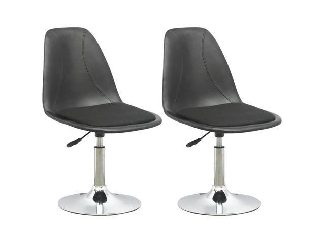 CorLiving DPV-506-B Adjustable Barstool in Black Leatherette with Fabric Seat, set of 2