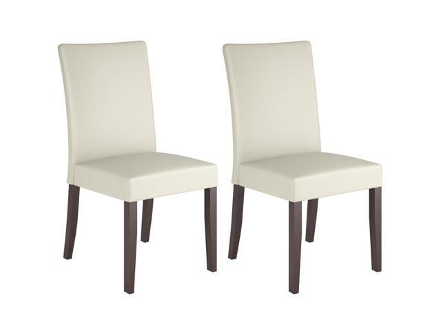 CorLiving DRC-885-C Atwood Cream Leatherette Dining Chairs, Set of 2