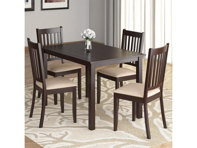 CorLiving DRG-595-Z Atwood 5pc Dining Set, with Beige Microfiber Seats