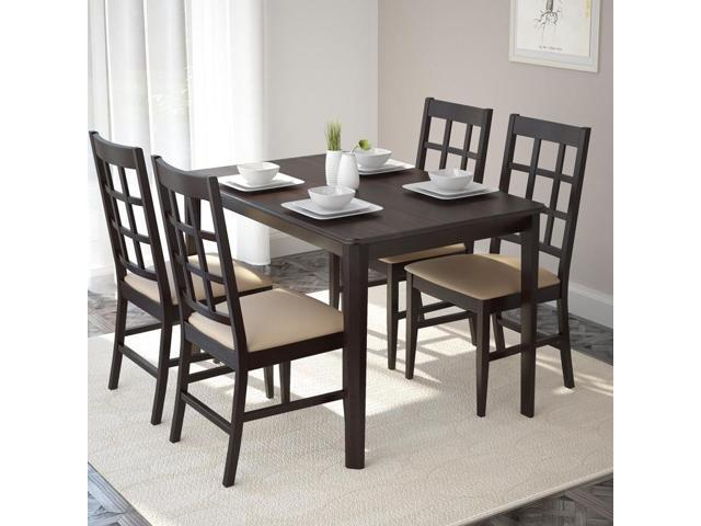 CorLiving DRG-695-Z Atwood 5pc Dining Set, with Grey Stone Leatherette Seats