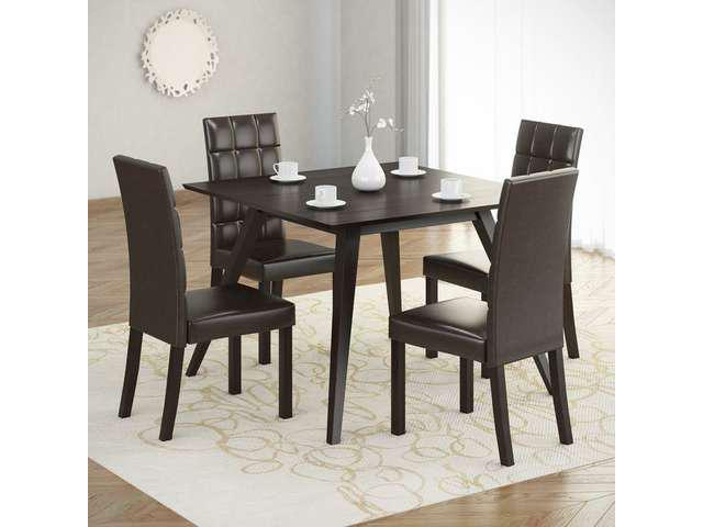 CorLiving DRG-895-Z Atwood 5pc Dining Set, with Dark Brown Leatherette Seats