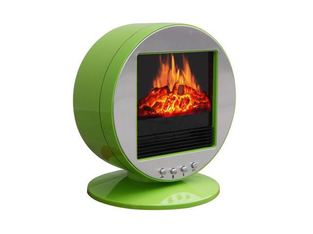 CorLiving FPE-437-F Desktop Fireplace / Space Heater in Green & Silver