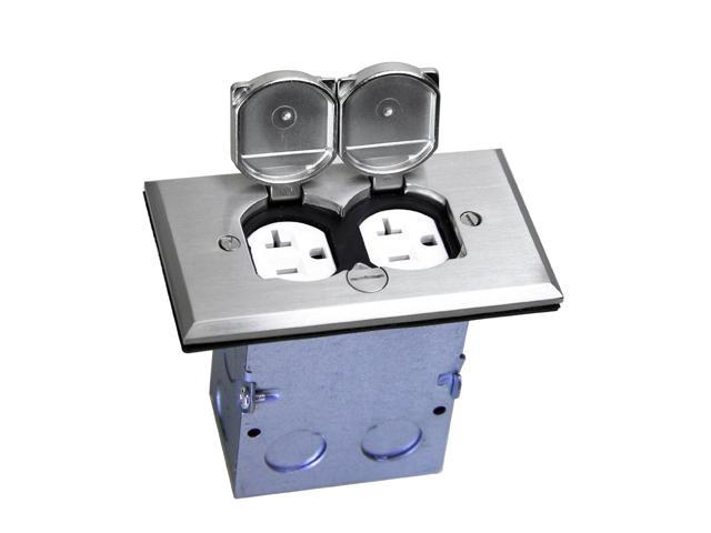 F Box Flip Lid Kit with 20A TR & WR Duplex Outlet;125V Tamper & Weather Resistant Dual Receptacle, Nickel Plated Brass Cover; UL Listed