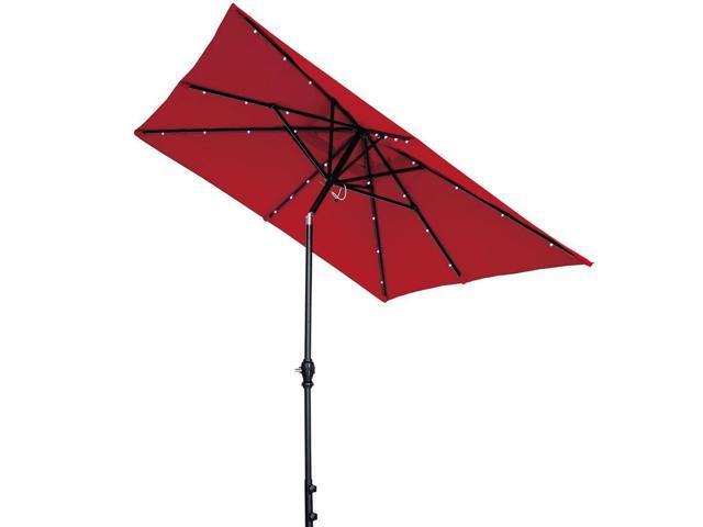 Abba Patio Rectangular Solar Powered Aluminum Outdoor Umbrella With Tilt  And 28 Solar LED Lights,