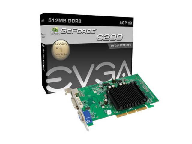 EVGA nVidia GeForce 6200 512MB VGA/DVI/TV-out AGP Video Card shipping from US